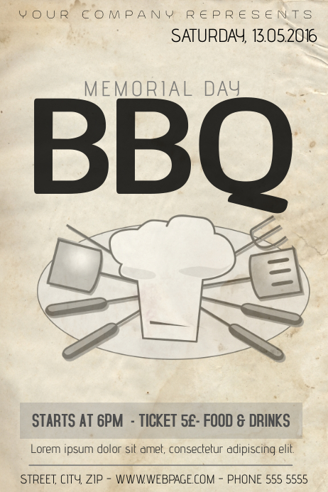 Memorial Day Barbecue BBQ Flyer Template