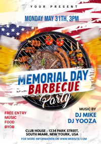 Memorial Day BBQ Party A4 template