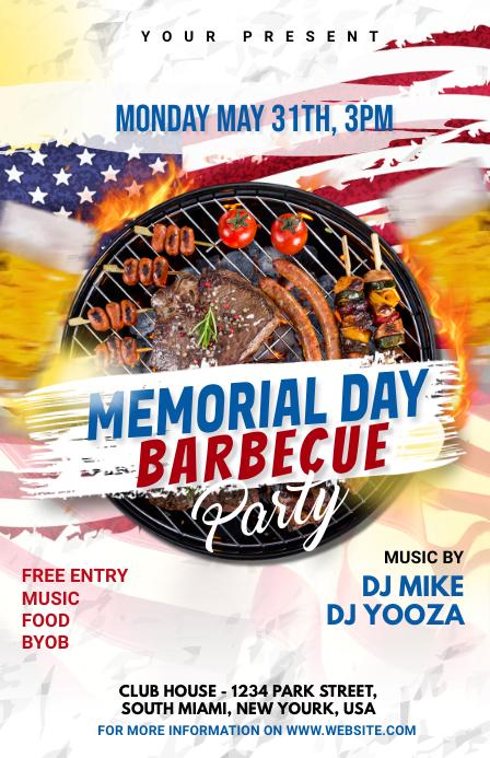 Memorial Day BBQ Party Полстраницы широкого формата template