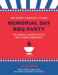 Memorial Day BBQ Party Flyer Template