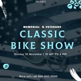 memorial day bike show event social media Logo template