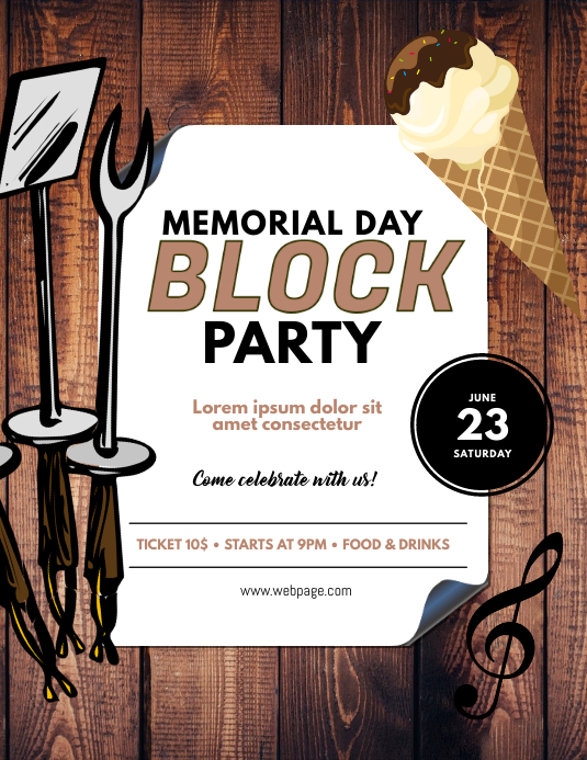 memorial day block party flyer template