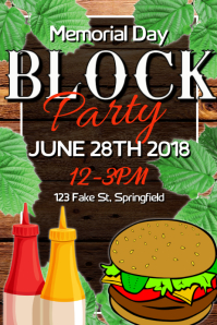 Memorial Day Block Party Poster