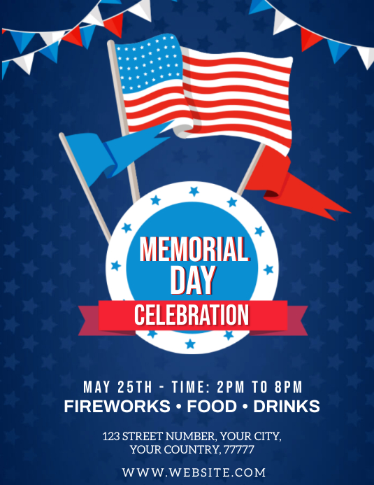 memorial day celebrate flyer template postermywall. Black Bedroom Furniture Sets. Home Design Ideas