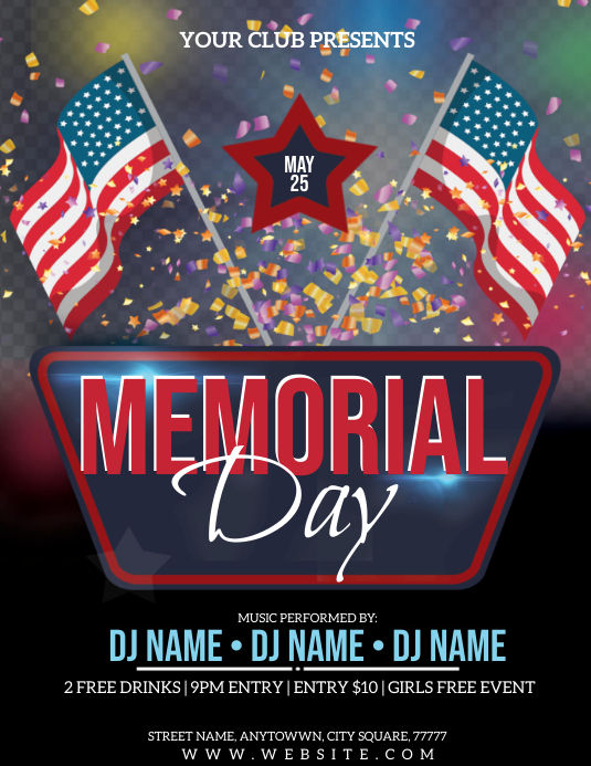 memorial day celebration event flyer template postermywall. Black Bedroom Furniture Sets. Home Design Ideas