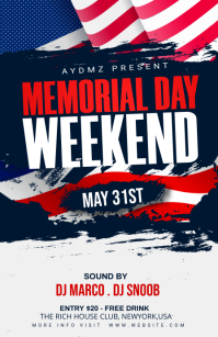 Memorial Day Celebration Flyer Half Page Wide template