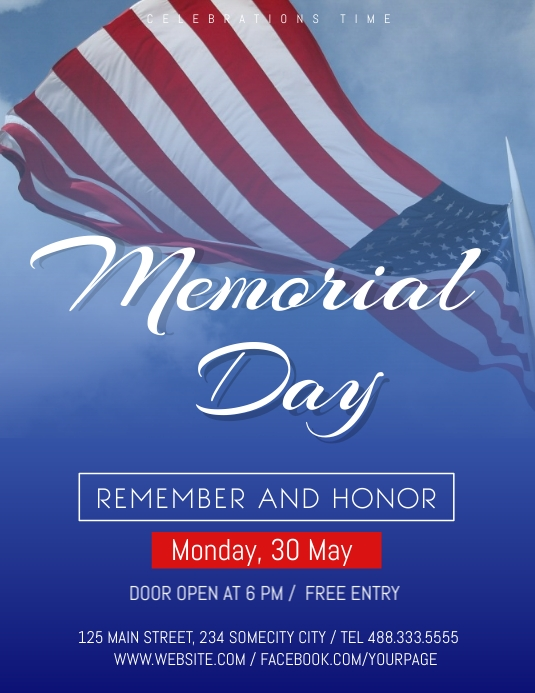 Memorial Day Celebration flyer Volantino (US Letter) template