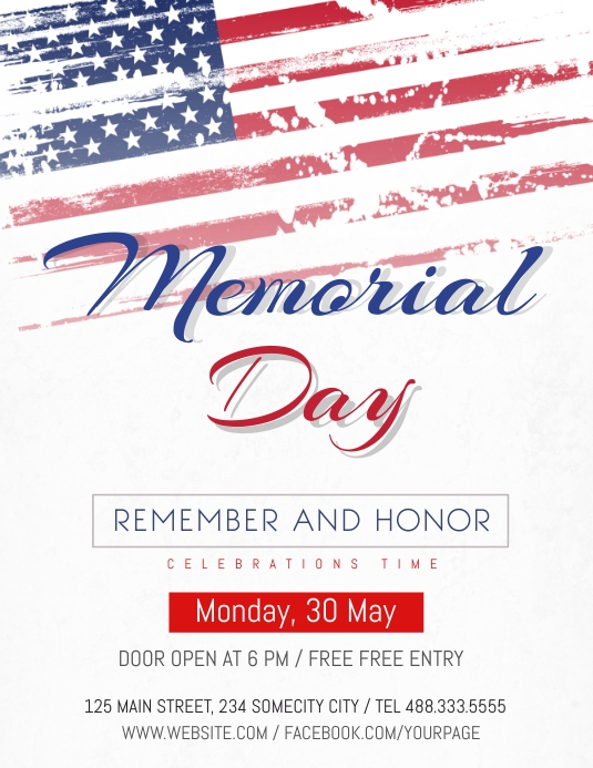 Memorial Day Celebration flyer Pamflet (Letter AS) template