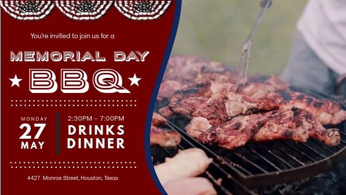 Memorial Day Facebook Banner BBQ Invitation
