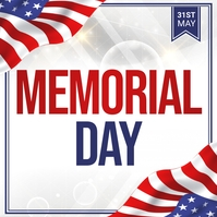 Memorial Day Flyer, 4th of july 方形(1:1) template