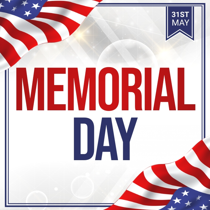 Memorial Day Flyer, 4th of july Persegi (1:1) template