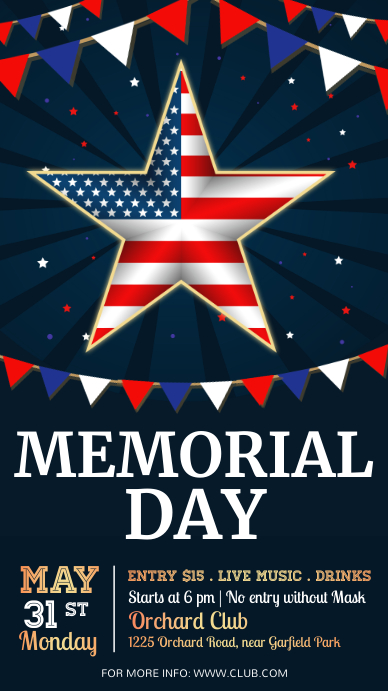 Memorial Day Flyer, federal holiday Instagram Story template