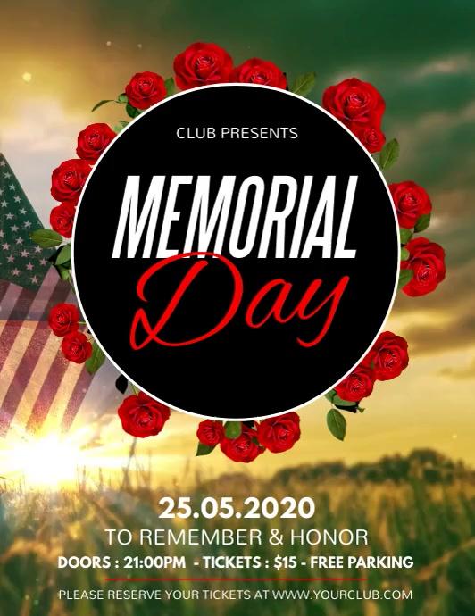 Memorial Day Flyer, memorial day video Folheto (US Letter) template