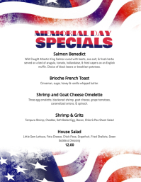 Memorial Day Menu Specials Flyer