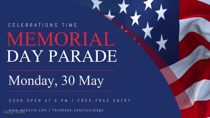 Memorial Day Parade Facebook Cover Video Temp Facebook-Covervideo (16:9) template