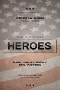 Memorial Day Parade Flyer design Template Poster