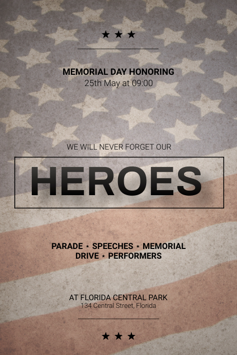 Memorial Day Parade Flyer design Template Plakat
