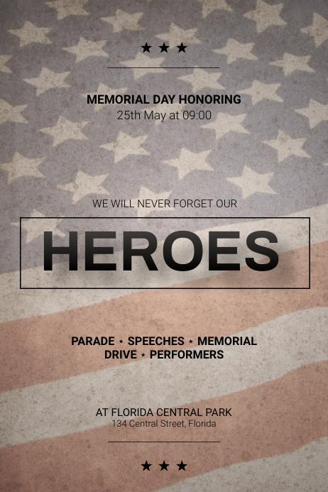 Memorial Day Parade Flyer design Template