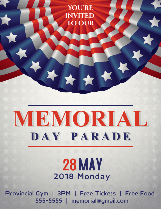 memorial day parade flyer template postermywall
