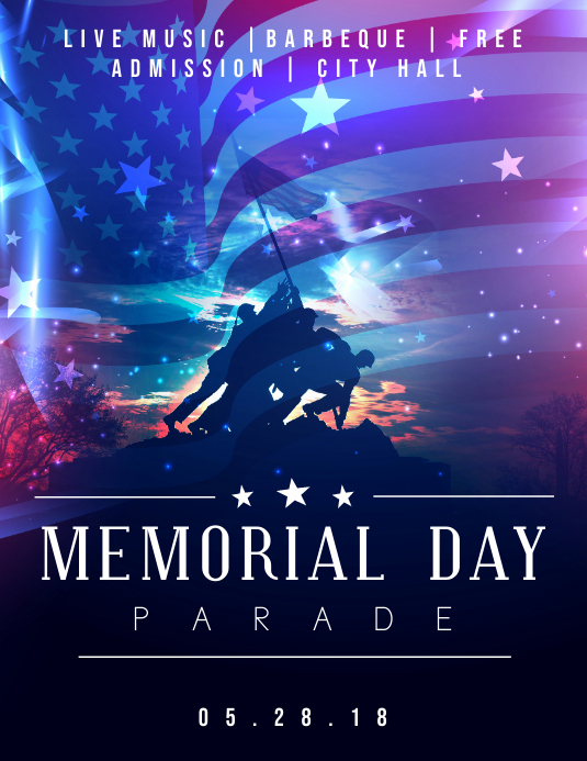 Memorial Day Parade Neon Flyer 传单(美国信函) template