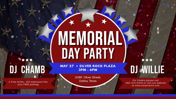 Memorial Day Party Banner Invitation Facebook Cover