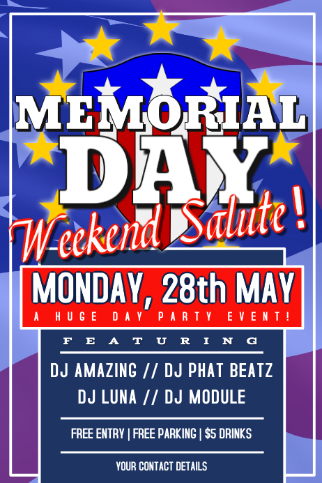 Memorial Day Party Poster Flyer Template  Postermywall