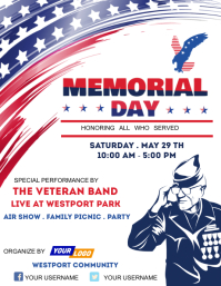 Memorial day party template Folder (US Letter)