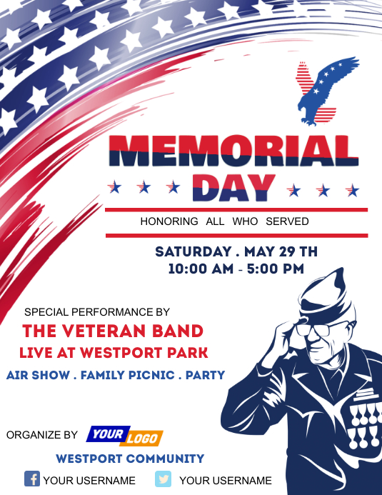 Memorial day party template Flyer (US Letter)