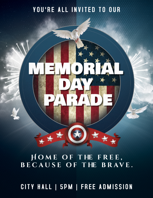 memorial day patriotic colors flyer template postermywall