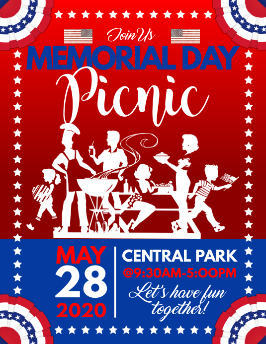 Memorial Day Picnic Flyer Template | PosterMyWall