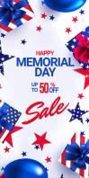 Memorial Day sale banner ads Spanduk Gulir Atas 3' × 6' template
