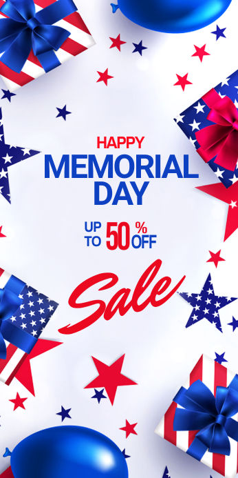 Memorial Day sale banner ads Rolbanner 3' × 6' template