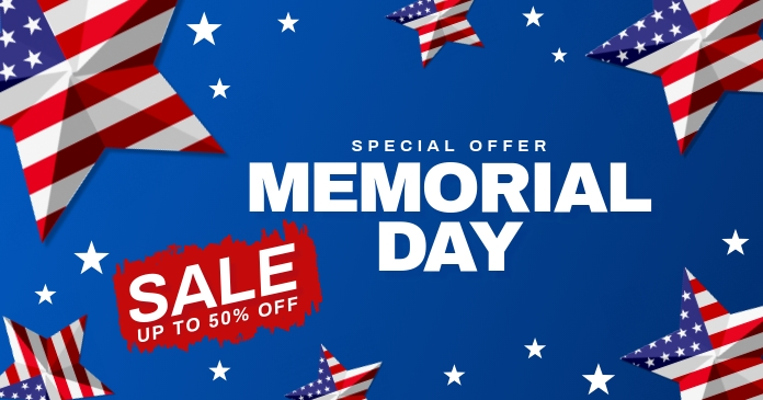 memorial day sale banner Facebook Shared Image template