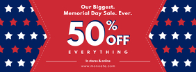 Memorial Day Sale Banner Red Blue