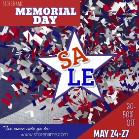 Memorial Day Sale Digital Ad Square (1:1) template