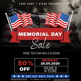 Memorial Day Sale Event Flyer Template Square (1:1)