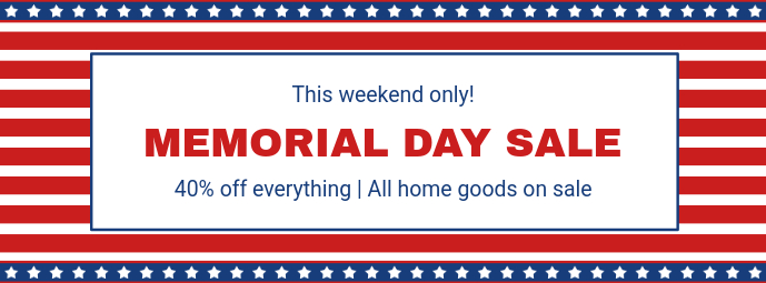 Memorial Day Sale Facebook Cover Template