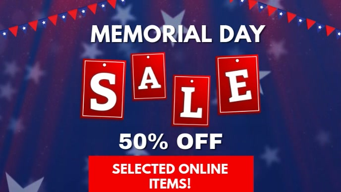 Memorial Day Sale Facebook Cover Video Template Postermywall