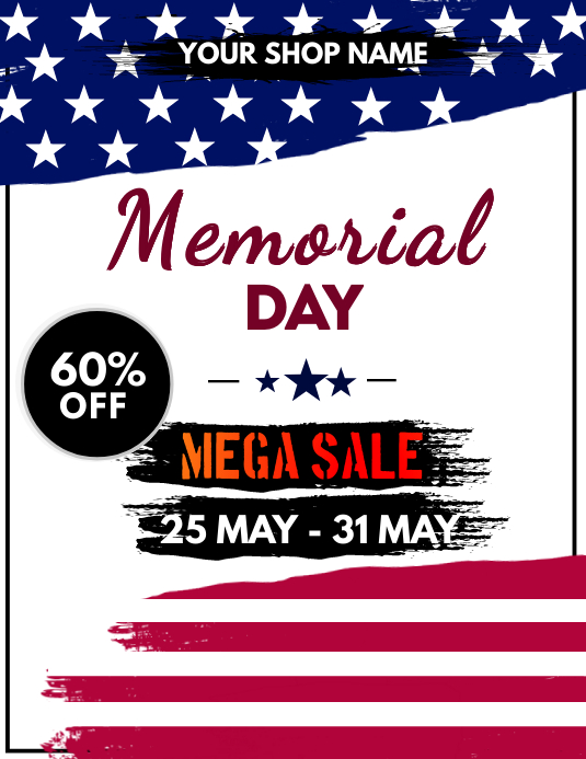 memorial day sale flyer template postermywall. Black Bedroom Furniture Sets. Home Design Ideas