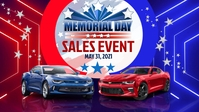 Memorial Day Car Sales Event Facebook Cover Video (16:9) template
