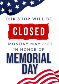 MEMORIAL DAY SHOP CLOSED NOTICE TEMPLATE A4