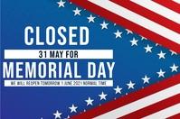 MEMORIAL DAY SHOP CLOSED NOTICE TEMPLATE Banier 4'×6'