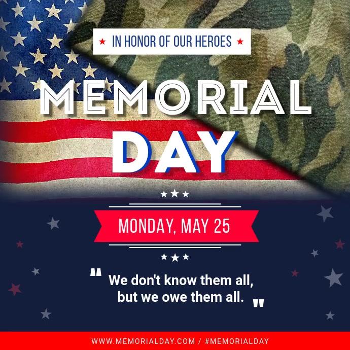 Memorial Day square video template