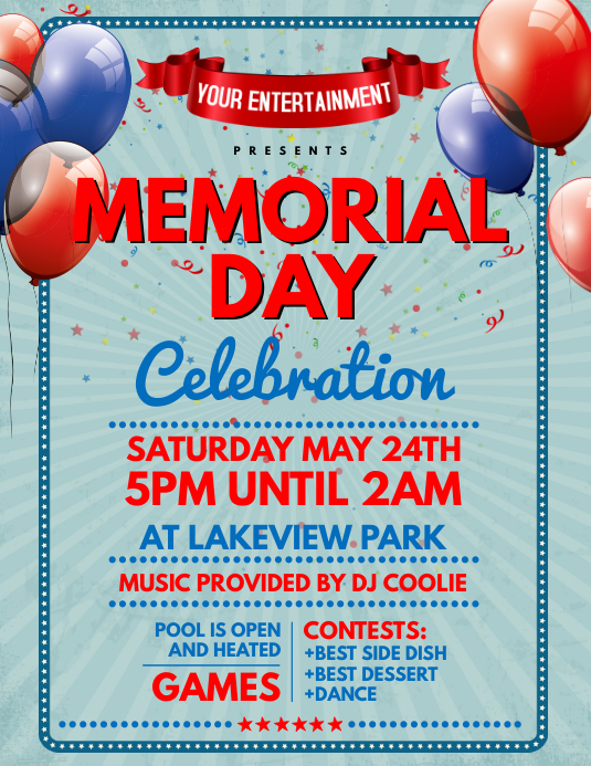 memorial day celebration flyer template