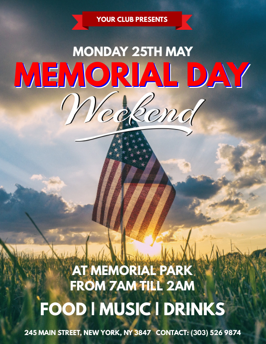 memorial day weekend flyer template postermywall