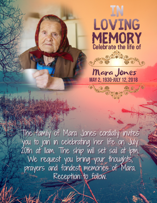 memorial in loving memory flyer