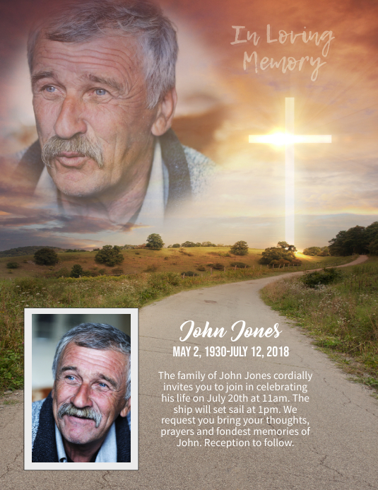 memorial in loving memory sunset flyer Pamflet (Letter AS) template