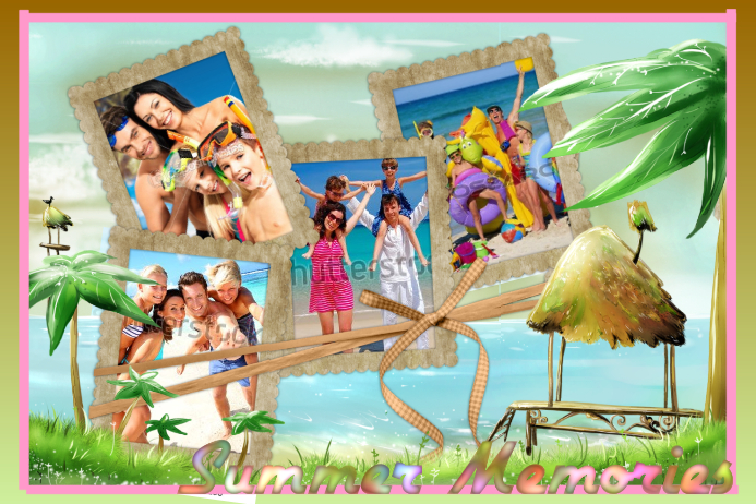 Superbe Tiki Beach Summer Memories Family Vacation Collage