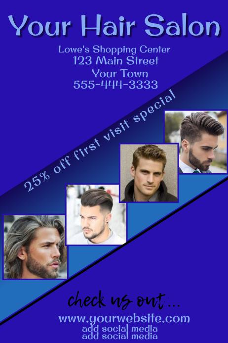 Men S Hair Salon Advertising Template Postermywall