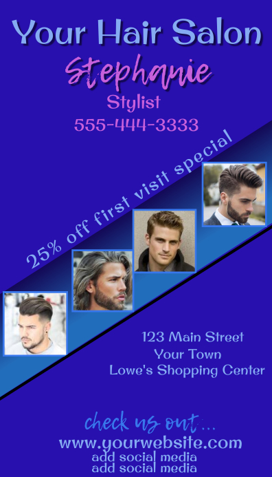 Men's Hair Salon Business Card Kartu Bisnis template